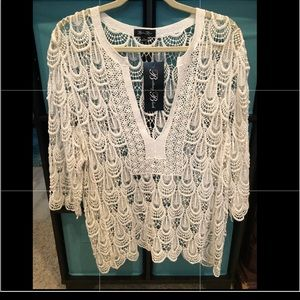 White crocheted sweater overlay